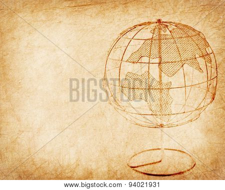 Earth globe on Old antique vintage paper background