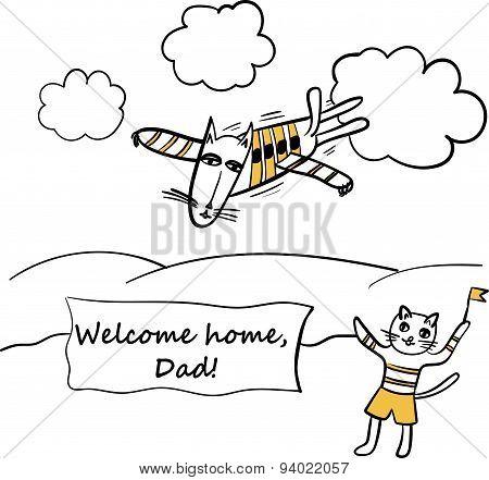 Dad - Pilot caricature vector illustration