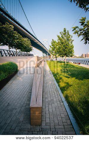 The Benjamin Franklin Bridge And Race Street Pier, In Philadelphia, Pennsylvania.