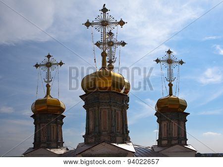 Crosses and domes of Trinity Cathedral. Verkhoturye. Sverdlovsk region. Russia.