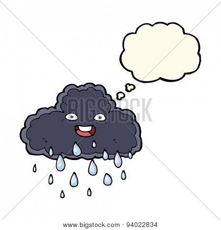 cartoon raincloud with thought bubble