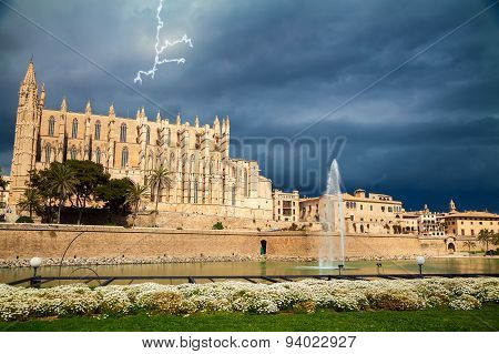 Palma Cathedral Before The Thunderstorm