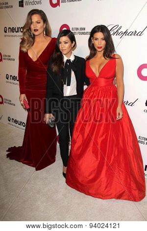 LOS ANGELES - MAR 3:  Khloe Kardashian, Kourtney Kardashian, Kim Kardashian at the Elton John AIDS Foundation's Oscar Viewing Party at the West Hollywood Park on March 3, 2014 in West Hollywood, CA