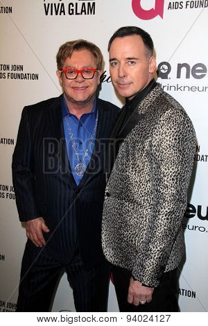 LOS ANGELES - MAR 3:  Elton John, David Furnish at the Elton John AIDS Foundation's Oscar Viewing Party at the West Hollywood Park on March 3, 2014 in West Hollywood, CA