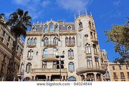 Building Facade Of Great Architectural Interest In The City Of Barcelona, Spain