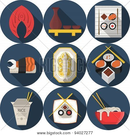 Flat round blue vector icons for asian food