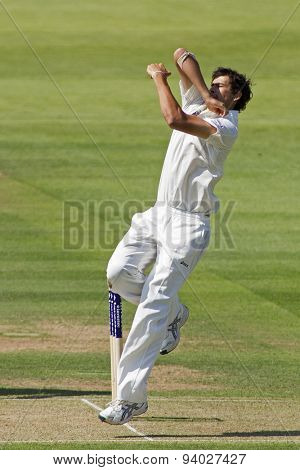 LONDON, ENGLAND - July 18 2013: Ashton Agar bowling on day one of the Investec Ashes 2nd test match, at Lords Cricket Ground on July 18, 2013 in London, England.
