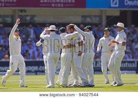LONDON, ENGLAND - July 19 2013: Australia celebrates the wicket James Anderson during day two of the Investec Ashes 2nd test match, at Lords Cricket Ground on July 19, 2013 in London, England.