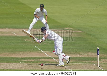 LONDON, ENGLAND - July 18 2013: Ian Bell plays a shot as Ashton Agar on during day one of the Investec Ashes 2nd test match, at Lords Cricket Ground on July 18, 2013 in London, England.