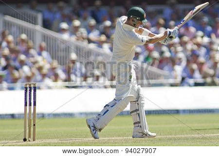 LONDON, ENGLAND - July 19 2013: Michael Clarke hits the ball during day two of the Investec Ashes 2nd test match, at Lords Cricket Ground on July 19, 2013 in London, England.