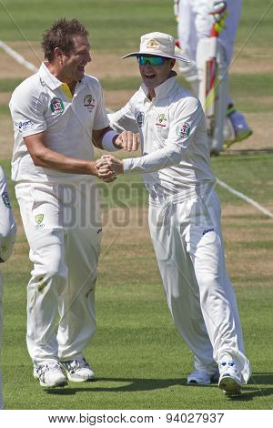 LONDON, ENGLAND - July 18 2013: Ryan Harris celebrates taking the wicket of Jonathan Trott on day one of the Investec Ashes 2nd test match, at Lords Cricket Ground on July 18, 2013 in London, England.