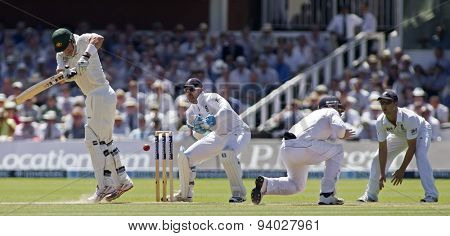 LONDON, ENGLAND - July 19 2013: Shane Watson, Matt Prior, Ian Bell and Jonathan Trott during day two of the Investec Ashes 2nd test match, at Lords Cricket Ground on July 19, 2013 in London, England.