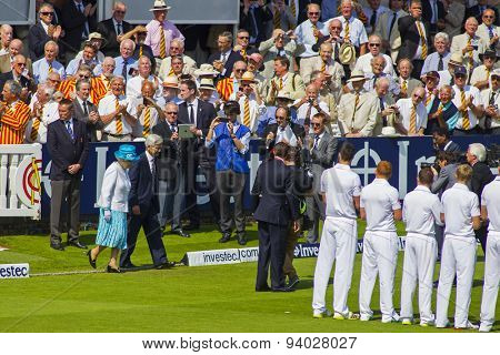 LONDON, ENGLAND - July 18 2013: Her Majesty Queen Elizabeth the 2nd attends the opening of day one of the Investec Ashes 2nd test match, at Lords Cricket Ground on July 18, 2013 in London, England.