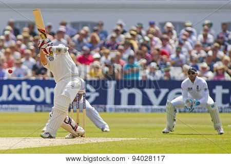 NOTTINGHAM, ENGLAND - July 14, 2013: Peter Siddle hits the ball and is caught out by Alastair Cook during day five of the first Investec Ashes Test match at Trent Bridge Cricket Ground on July 14 2013