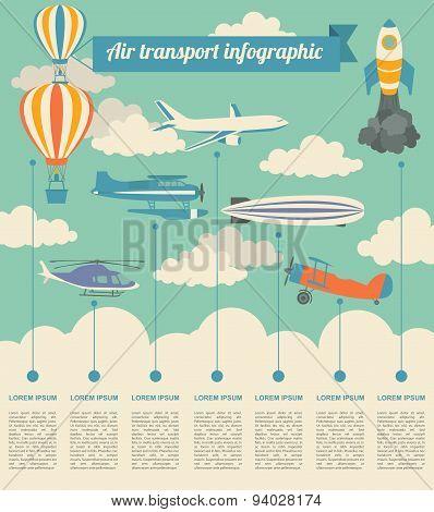 Air transport infographics elements. Retro styled illustration