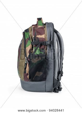 Isolated Army Camouflage Backpack On White Background