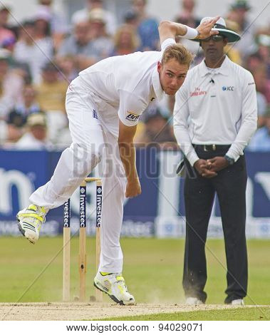 NOTTINGHAM, ENGLAND - July 14, 2013:  Stuart Broad bowling during day five of the first Investec Ashes Test match at Trent Bridge Cricket Ground on July 14, 2013 in Nottingham, England.