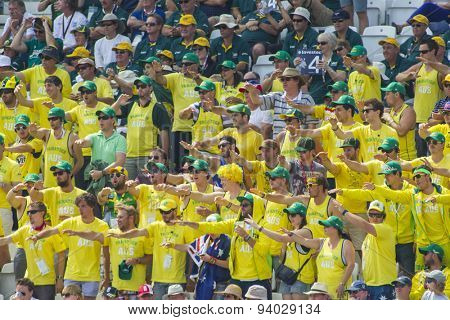 NOTTINGHAM, ENGLAND - July 14, 2013: The Fanatics signal four runs during day five of the first Investec Ashes Test match at Trent Bridge Cricket Ground on July 14, 2013 in Nottingham, England.