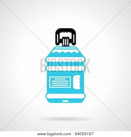 Water bottle with label flat vector icon