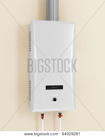 White Gas Boiler, On A Beige Background