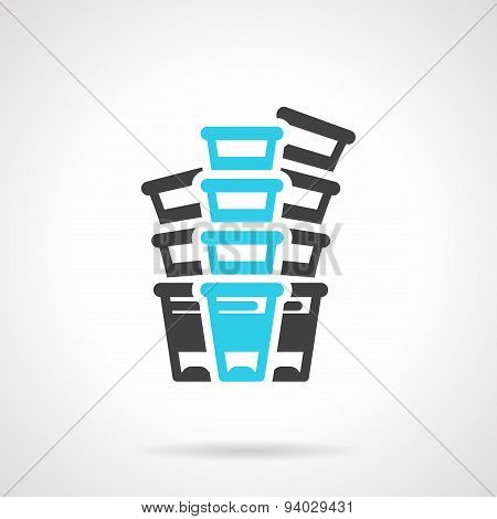Plastic cups black and blue line vector icon
