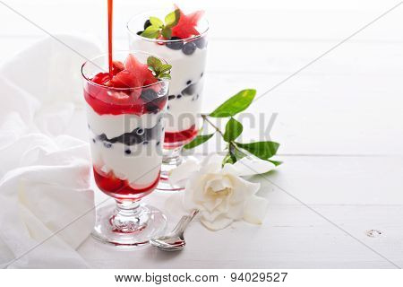 Yogurt parfait with blueberries and strawberry
