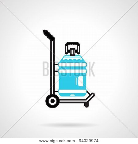 Water delivery black and blue vector icon