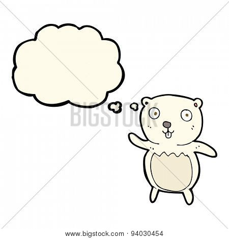 cartoon polar bear cub with thought bubble