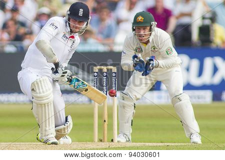NOTTINGHAM, ENGLAND - July 12, 2013: Stuart Broad and Brad Haddin during day three of the first Investec Ashes Test match at Trent Bridge Cricket Ground on July 12, 2013 in Nottingham, England.