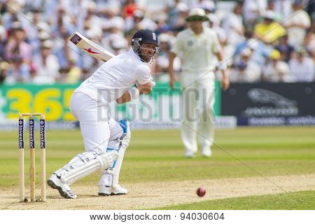 NOTTINGHAM, ENGLAND - July 12, 2013: England's Matt Prior during day three of the first Investec Ashes Test match at Trent Bridge Cricket Ground on July 12, 2013 in Nottingham, England.