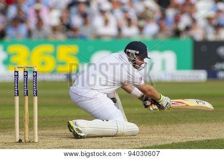 NOTTINGHAM, ENGLAND - July 12, 2013: Ian Bell plays a shot during day three of the first Investec Ashes Test match at Trent Bridge Cricket Ground on July 12, 2013 in Nottingham, England.