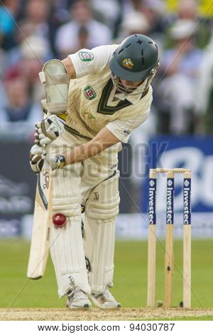 NOTTINGHAM, ENGLAND - July 10, 2013: Australia's Chris Rogers is dismissed LBW off the bowling of James Anderson (not pictured) during the Ashes Test match at Trent Bridge Cricket Ground