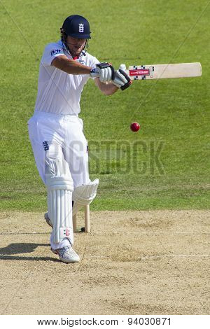 NOTTINGHAM, ENGLAND - July 11, 2013: England's Alastair Cook during day two of the first Investec Ashes Test match at Trent Bridge Cricket Ground on July 11, 2013 in Nottingham, England.