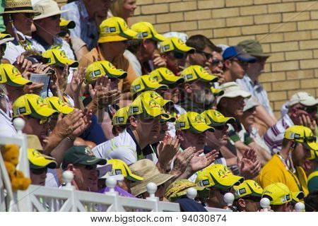 NOTTINGHAM, ENGLAND - July 11, 2013: Australian fans during day two of the first Investec Ashes Test match at Trent Bridge Cricket Ground on July 11, 2013 in Nottingham, England.