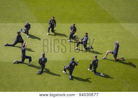 NOTTINGHAM, ENGLAND - July 11, 2013: Australia players warm up before day two of the first Investec Ashes Test match at Trent Bridge Cricket Ground on July 11, 2013 in Nottingham, England.