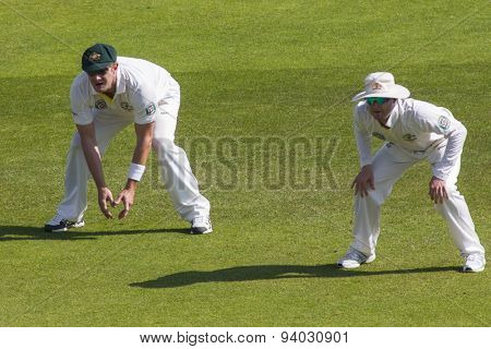 NOTTINGHAM, ENGLAND - July 11, 2013: Shane Watson and Michael Clarke during day two of the first Investec Ashes Test match at Trent Bridge Cricket Ground on July 11, 2013 in Nottingham, England.