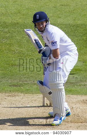 NOTTINGHAM, ENGLAND - July 11, 2013: England's Joe Root during day two of the first Investec Ashes Test match at Trent Bridge Cricket Ground on July 11, 2013 in Nottingham, England.