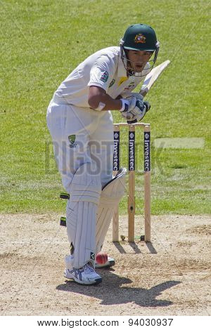 NOTTINGHAM, ENGLAND - July 11, 2013: Ashton Agar batting during day two of the first Investec Ashes Test match at Trent Bridge Cricket Ground on July 11, 2013 in Nottingham, England.