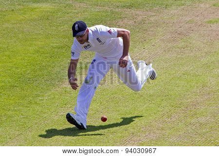 NOTTINGHAM, ENGLAND - July 11, 2013: England's James Anderson fielding during day two of the first Investec Ashes Test match at Trent Bridge Cricket Ground on July 11, 2013 in Nottingham, England.