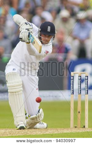 NOTTINGHAM, ENGLAND - July 10, 2013: England's Stuart Broad during day one of the first Investec Ashes Test match at Trent Bridge Cricket Ground on July 10, 2013 in Nottingham, England.