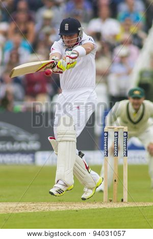 NOTTINGHAM, ENGLAND - July 10, 2013: England's Ian Bell batting during day one of the first Investec Ashes Test match at Trent Bridge Cricket Ground on July 10, 2013 in Nottingham, England.