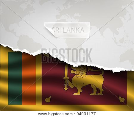 Paper With Hole And Shadows Sri Lanka Flag