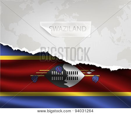 Paper With Hole And Shadows Swaziland Flag