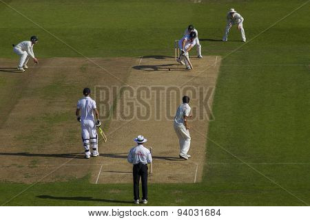 NOTTINGHAM, ENGLAND - July 11, 2013: Australia's Ashton Agar bowls the ball to England's Alastair Cook during day two of the first Investec Ashes Test match at Trent Bridge Cricket Ground
