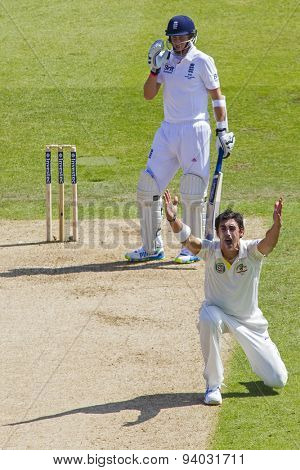 NOTTINGHAM, ENGLAND - July 11, 2013: Australia's Ashton Agar appeals for the wicket of Joe Root during day two of the first Investec Ashes Test match at Trent Bridge Cricket Ground on July 11, 2013