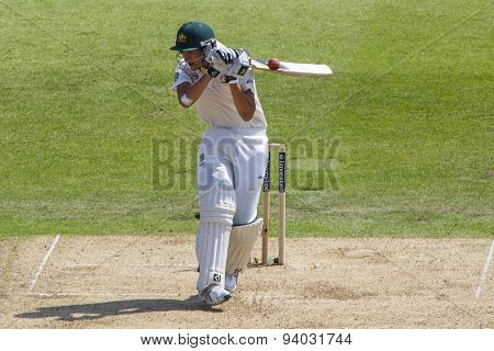 NOTTINGHAM, ENGLAND - July 11, 2013: Australia's Ashton Agar avoids a bouncer during day two of the first Investec Ashes Test match at Trent Bridge Cricket Ground on July 11, 2013