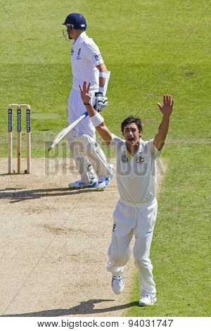 NOTTINGHAM, ENGLAND - July 11, 2013: Australia's Ashton Agar appeals for the wicket of Joe Root during day two of the first Investec Ashes Test match at Trent Bridge Cricket Ground