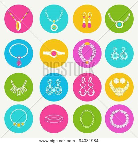 Icons Set Women Accessories Collection Of Jewellery