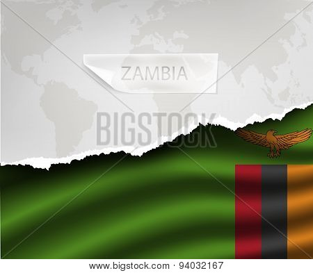 Paper With Hole And Shadows Zambia Flag