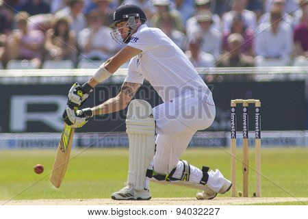 NOTTINGHAM, ENGLAND - July 12, 2013: England's Kevin Pietersen plays a shot during day three of the first Investec Ashes Test match at Trent Bridge Cricket Ground on July 12, 2013